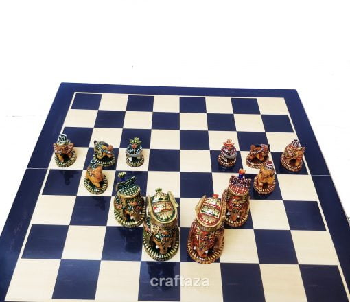 wood peacock painted chess