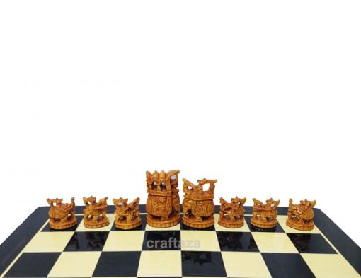 wooden carving chess set