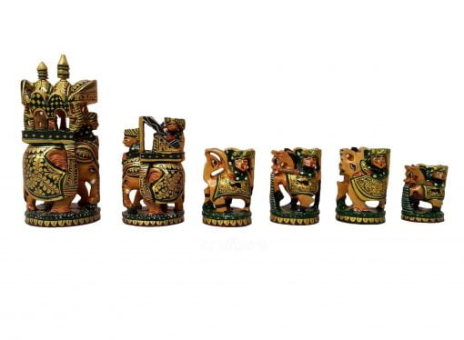 wooden painted chess set