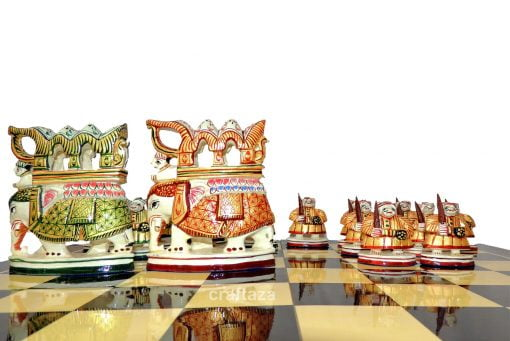 wood vintage painted chess pieces