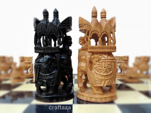 wooden carved chess
